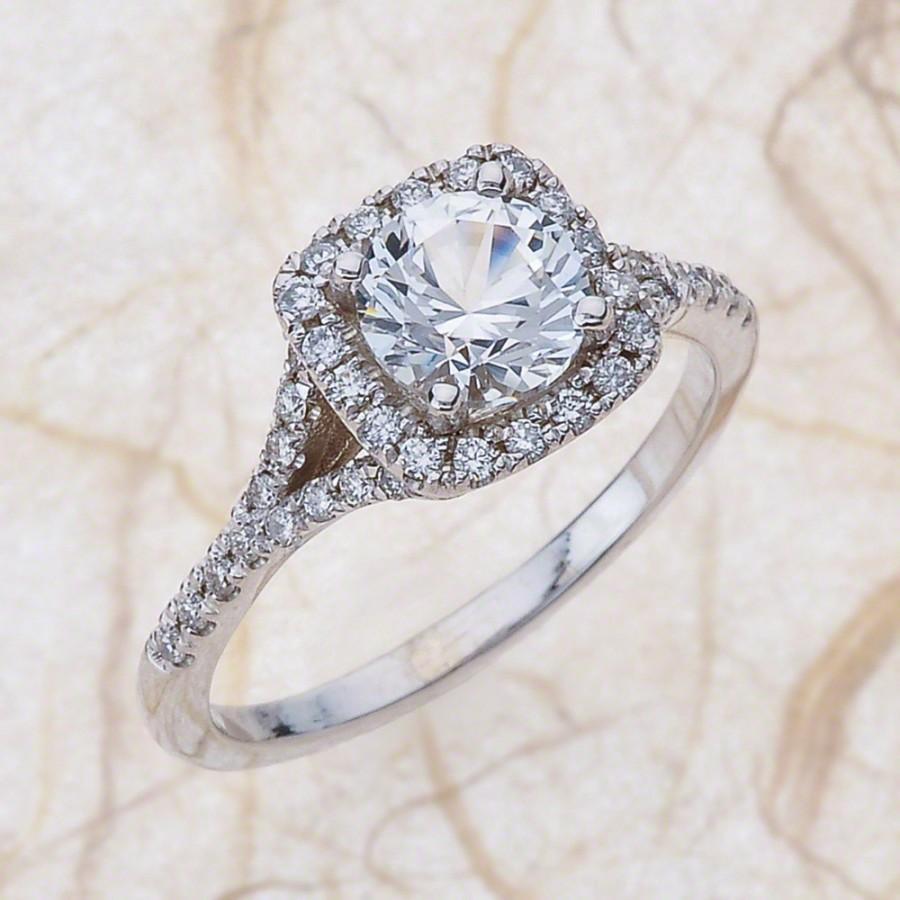 Свадьба - White Sapphire Engagement Ring - 14kt White Gold Diamond Engagement Ring With A 1.50ct  Natural Round White Sapphire Center