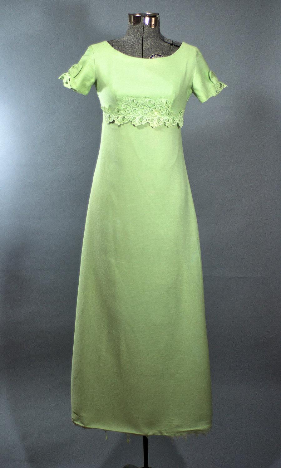 e08532ac0b0e Vintage 1960's Maxi Dress. 60's Regency Empire Waist Floor Length Dress Made  in USA