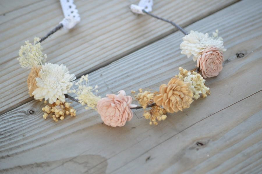 Mariage - Headband Crown in Ivory Blush Pink Tan Wedding Bride Bridesmaid Flower Girl Hair Accessory  made of Sola and dried Flowers