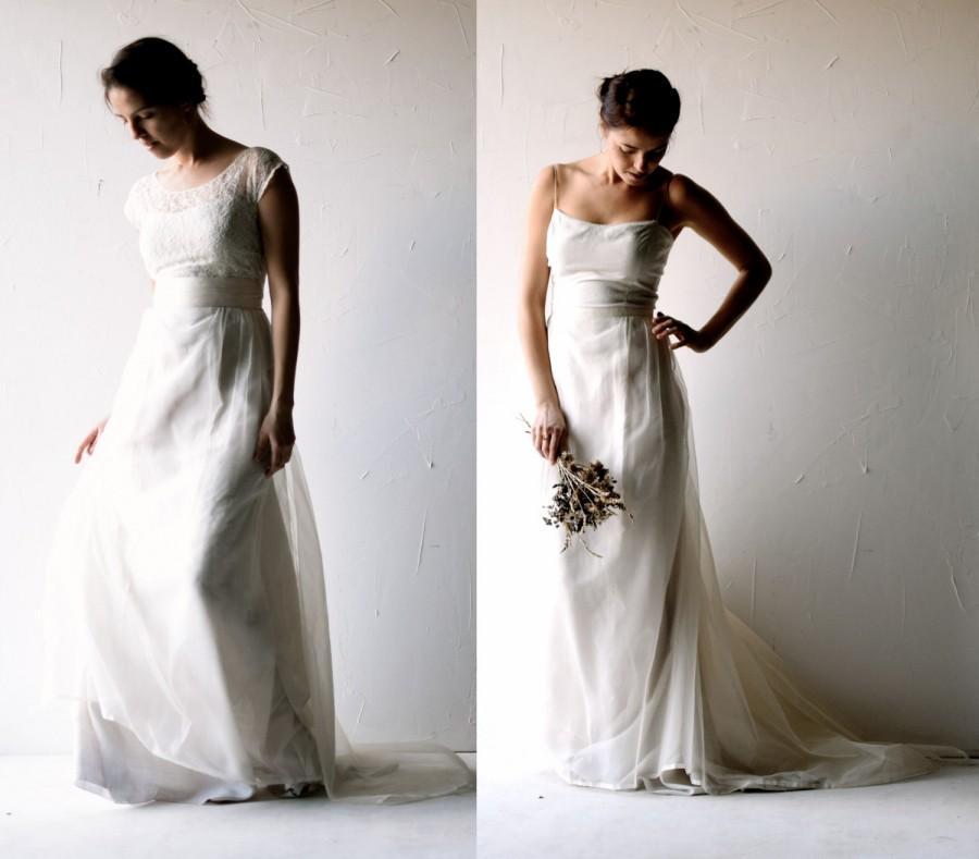 Boda - Wedding dress, Boho wedding dress, Silk wedding dress, Lace wedding dress, Alternative wedding dress, Bridal Separates, rustic wedding dress