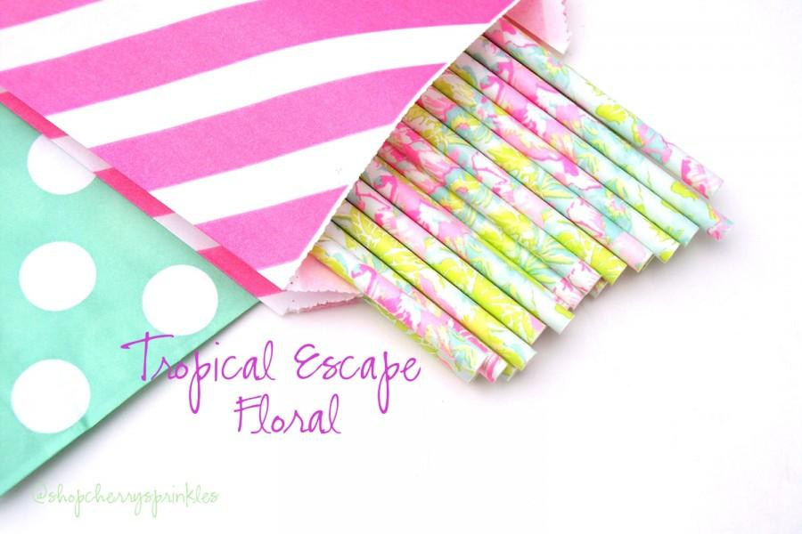 Mariage - LILLY PULITZER -Mint straws -Hot pink straws -Straws, MINT *Paper Straws, Wedding *Birthday *Party Supplies *Lime Green *Pink *Flamingo