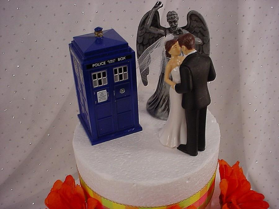 Wedding - Dr Who Wedding Cake Toppers Whovian Tardis Police Call Box Sonic Screwdriver Weeping Angel Mr Groom Mrs Bride Dr Who TV Show Fun Gift -TH43
