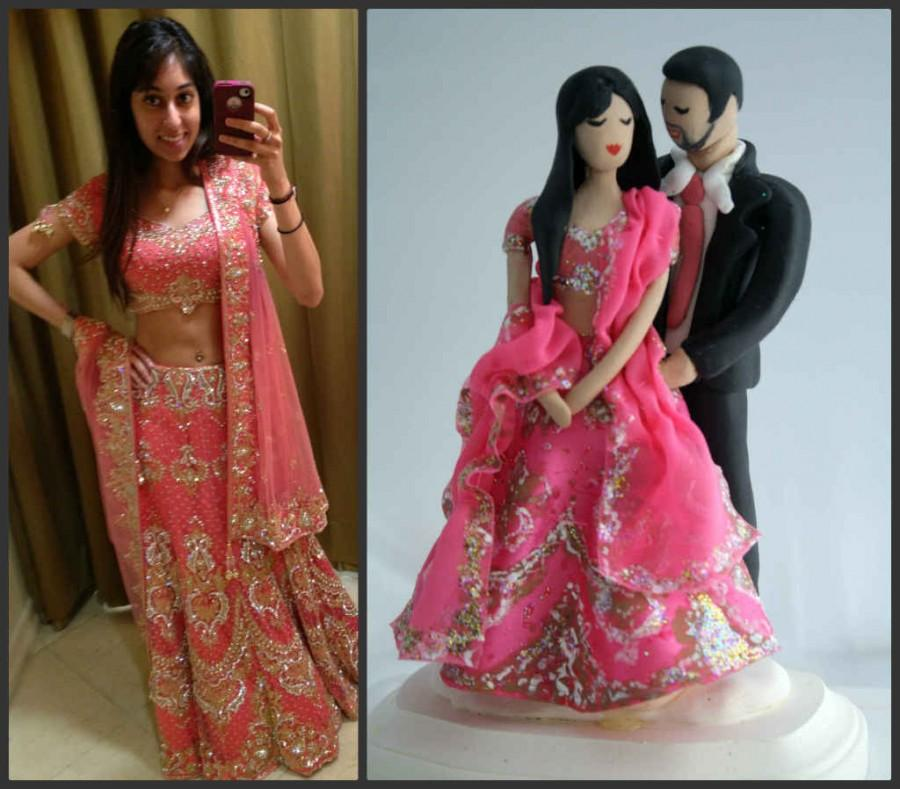 Indian Wedding Cake Topper CUSTOMIZED To Your Features And Attire Hand Sculpted In Clay