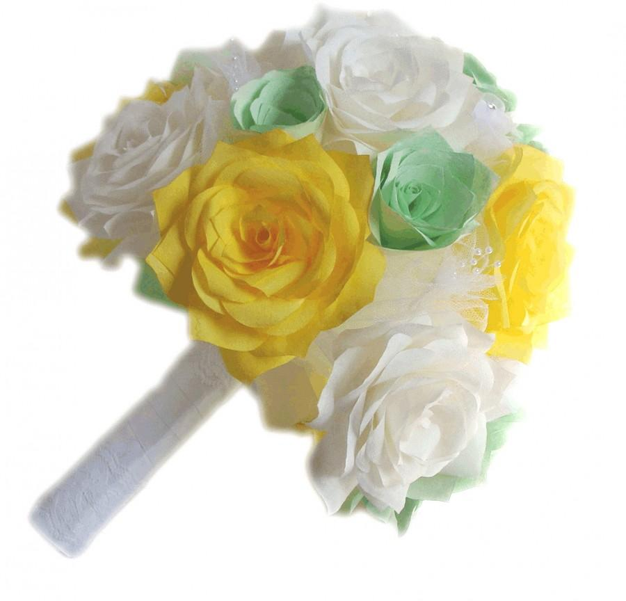 Mint Green Paper Flower Bridal Bouquets, Yellow Flower Bouquets ...
