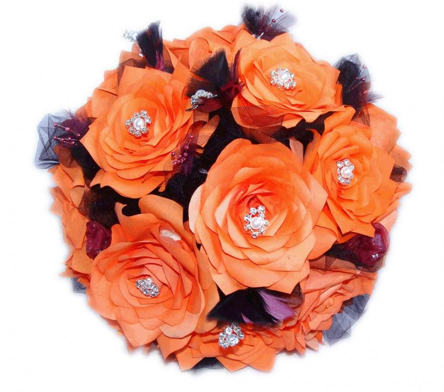 Свадьба - Persimmon and plum paper flower bouquets, Purple and orange feather bouquet, Alternative bouquet, Custom color bouquet, Paper flower bouquet