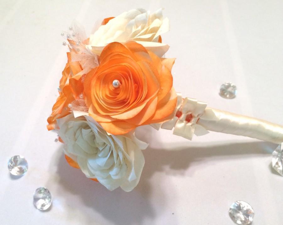 Свадьба - Alternative bouquet, Paper Rose bouquet, Orange bouquet, Flower girl bouquet, Bridesmaid bouquet, Toss bouquet, Ivory Throw bouquet