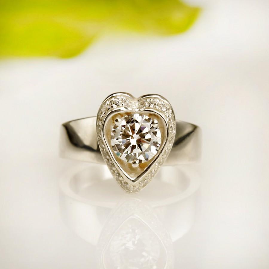 Mariage - Wedding Ring. engagement ring  14kt white Gold Diamond ,  RG-1086