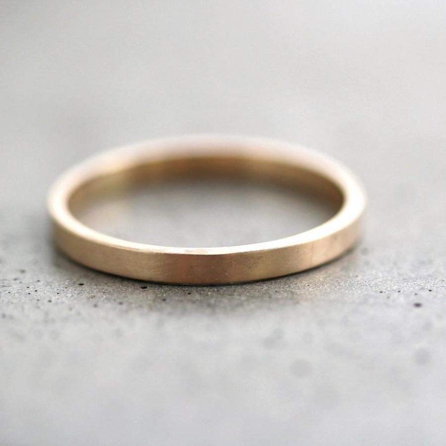 Mariage - Gold Wedding Band Stackable Ring, 2mm Slim Recycled 14k Yellow Gold Ring Brushed Gold Wedding Ring or Stacking Ring