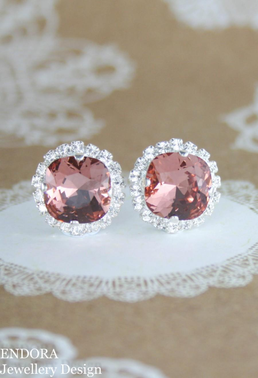 Wedding - Blush earrings,swarovski earrings,swarovski blush rose,bridal earrings,bridesmaid earrings,blush wedding,swarovski,crystal earrings,blush