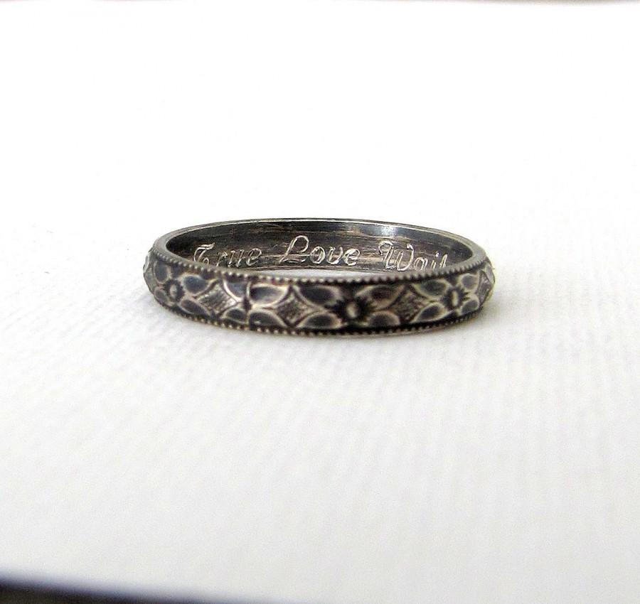silver purity ring floral promise ring antique silver