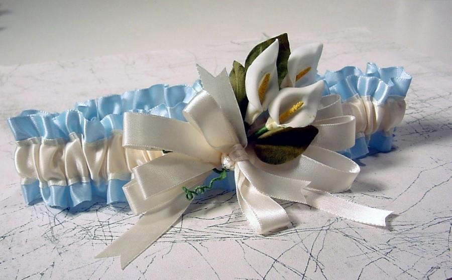 Свадьба - Wedding Garter keepsake NOSEGAY calla lillies
