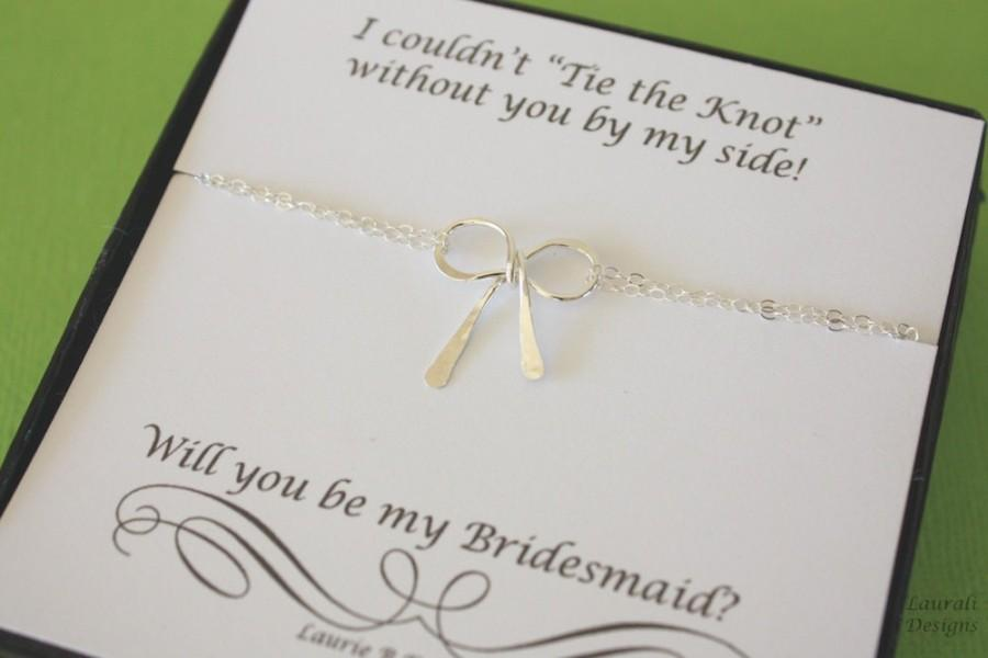 Tie The Knot Bracelet Bridesmaid Will You Be My Maid Of Honor Sterling Silver Bow