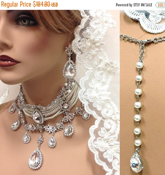 Mariage - Bridal choker statement necklace earrings, vintage inspired Victorian pearl Swarovski crystal choker necklace, wedding jewelry set