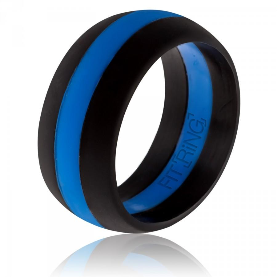 Mariage - Fit Ring ™ Powered by Arthletic™ - Men's Silicone Wedding Ring Thin Blue Line