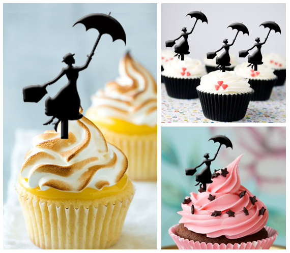Свадьба - Ca040 New Arrival 10 pcs/ Decorations Cupcake Topper / Mary Poppins / Silhouette / Wedding / Props / Party / Vintage / Fun / Shop