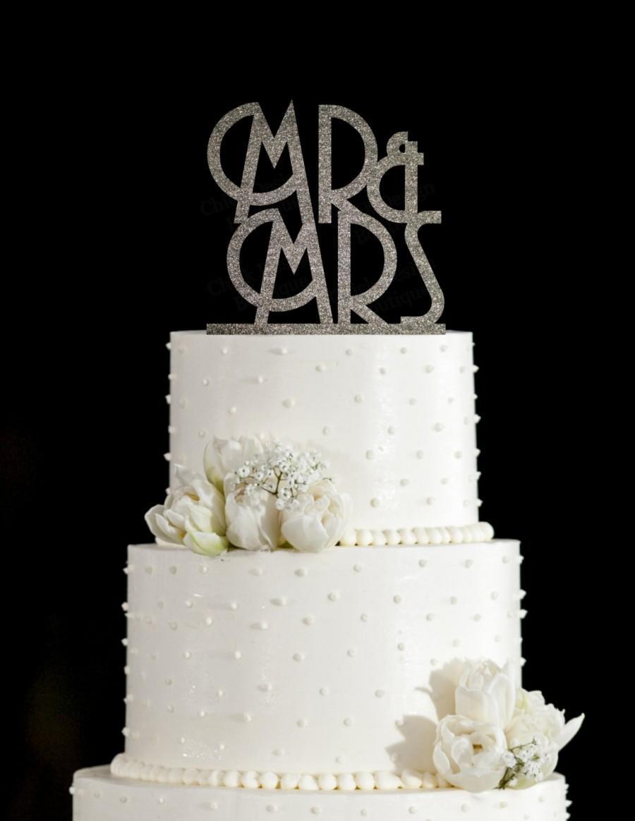 Hochzeit mr amp mrs art deco acrylic wedding cake topper gold glitter