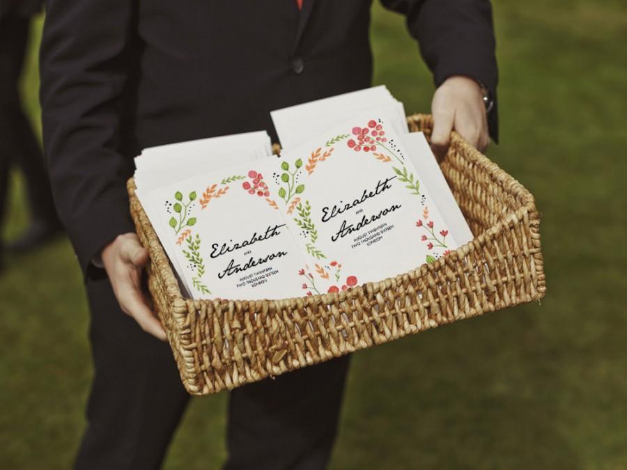 printable wedding program water color flowers pdf wedding
