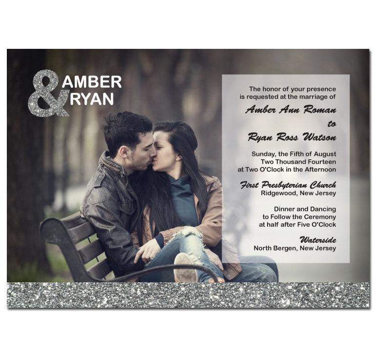 Mariage - Silver Glitter Wedding Invitation with Photo & Ampersand Card DIY PRINTABLE Digital File or Print (extra)