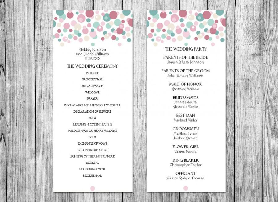 Mariage - Diy wedding program template Download wedding program Instant download wedding program Printable wedding program Wedding program download T6