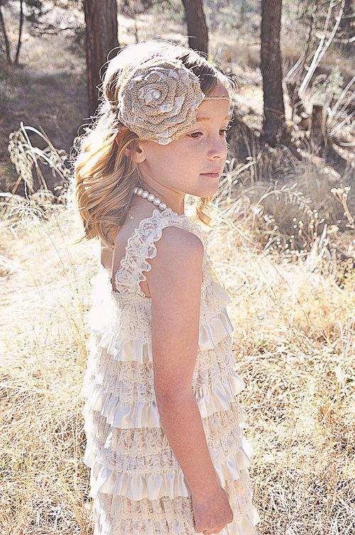 Düğün - Chic Flower Girl Dress -Lace Pettidress-Champagne Flower Girl Dress-Rustic Flower Girl Dress-Shabby Chic Flower Girl Dress-Rustic Girls