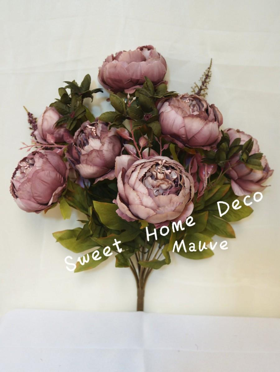 Jennysflowershop 18 super soft blooming peony silk artificial jennysflowershop 18 super soft blooming peony silk artificial wedding bouquet home flowers mauve dhlflorist Images