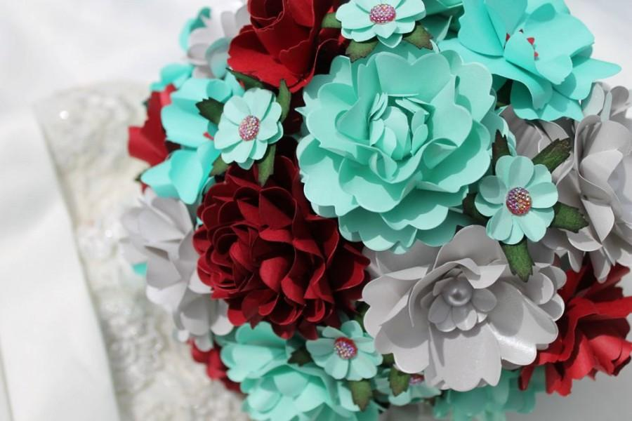 Tiffany Blue, Wine Red And Silver Handmade Paper Flower Wedding ...
