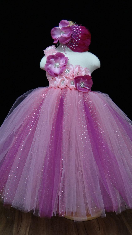 Pink Fuchsia Flower Girl Dress Pink Flowers Tutu Dress Tulle