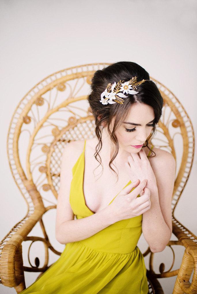 Hochzeit - Hand painted gold headband - style 2003