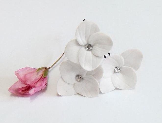 Mariage - White Hydrangea - Flower Accessories - Hydrangea Wedding Hair Accessories, Wedding Hair Flower Hair - set