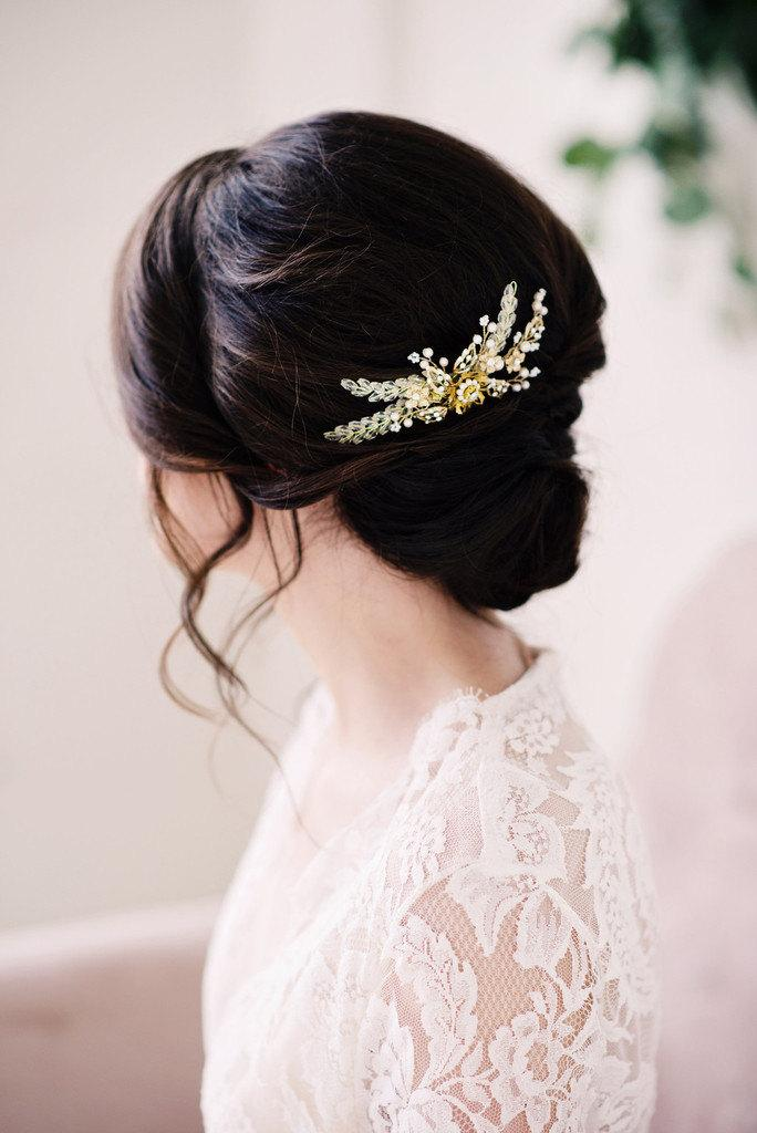 Mariage - Gold beaded hair comb - style 2005