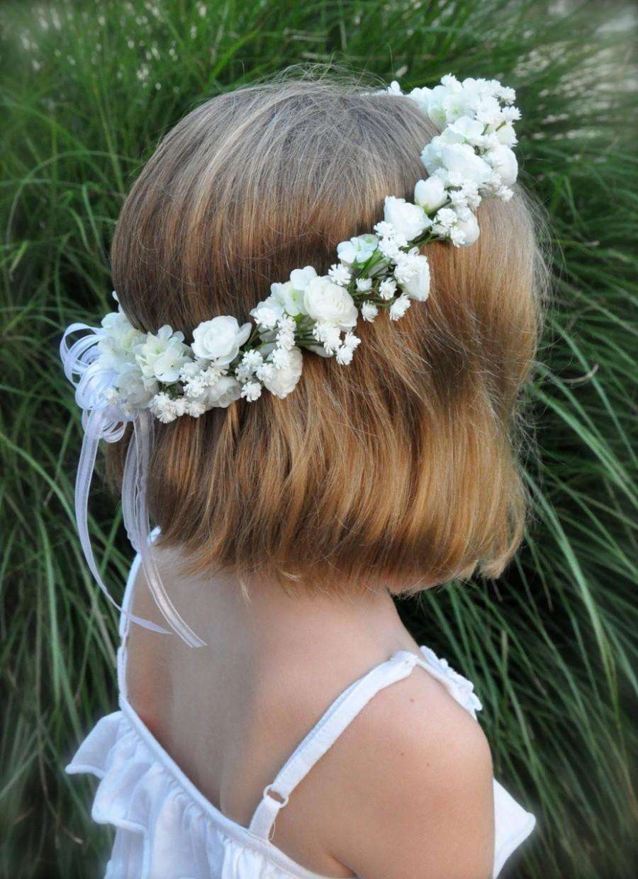 Mariage - Flower Girl Wreath, First Communion Floral Crown, Wedding Flowers, White Rose and Babies Breath halo by Holly's Flower Shoppe.