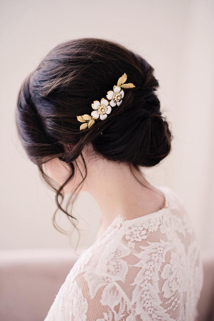 Mariage - Hand painted gold hair comb - style 2007