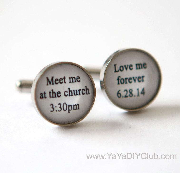 Mariage - Bride to Groom Gift idea, Bride to Groom Gift, Groom Cuff Links, Personalized Cuff Links Wedding Cuff links - meet me at the church