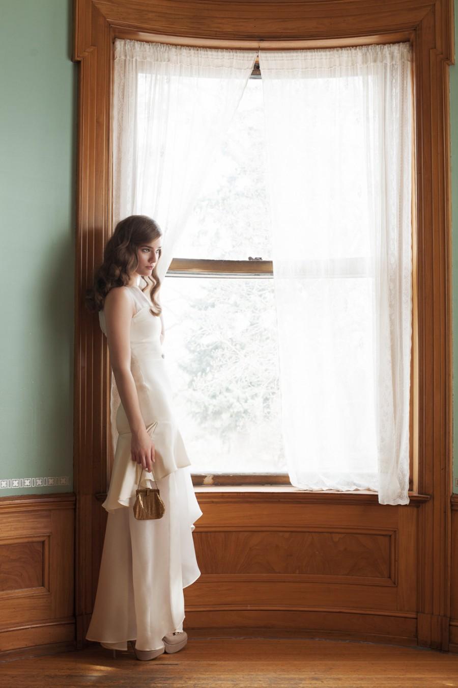 Свадьба - High Low Wedding Dress, 1920s Vintage Inspired Wedding Gown, Tiered Wedding Dress, Ivory Silk Short Wedding Dress - Andromeda Gown