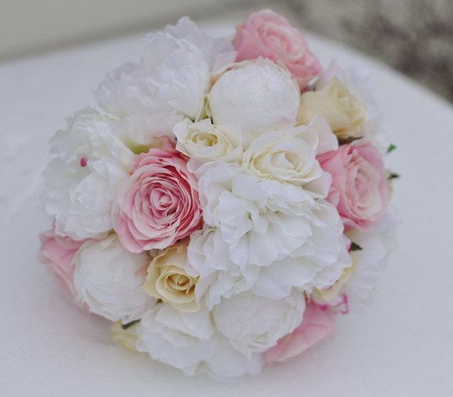 Wedding - Wedding Flowers, Wedding Bouquet, Keepsake Bouquet, Bridal Bouquet, Pink and Vanilla Roses mixed with Ivory Peonies silk flower bouquet.