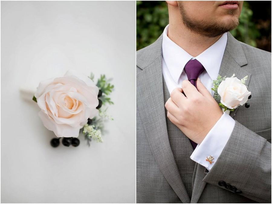 Wedding Flowers, Rose Boutonniere, Ivory Boutonniere, Groom ...