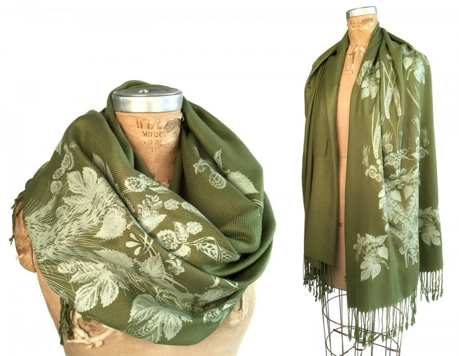 Beer scarf. Hops and Wheat pashmina scarf. Botanical screenprint. Craft beer brewing gift. Choose dark brown, moss & more. For women or men.