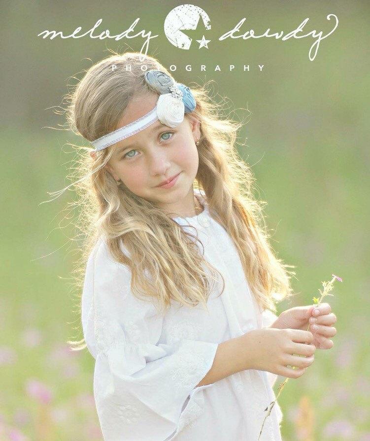 Mariage - Flower Girl Gift Daughter Kids Headband Birthday Rosette Headband - Three Silk Flowers with Vintage Jewel Center