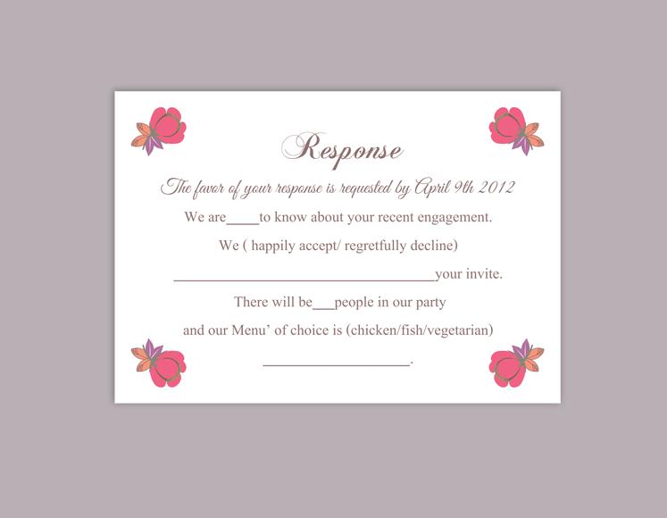 DIY Wedding RSVP Template Editable Word File Instant Download Rsvp Template  Printable RSVP Cards Floral Pink Rsvp Card Elegant Rsvp Card