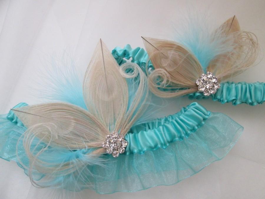 Aqua Blue Erfly Wedding Garter Set Ivory Pea Teal Bridal Seafoam Rustic Country Bride Something