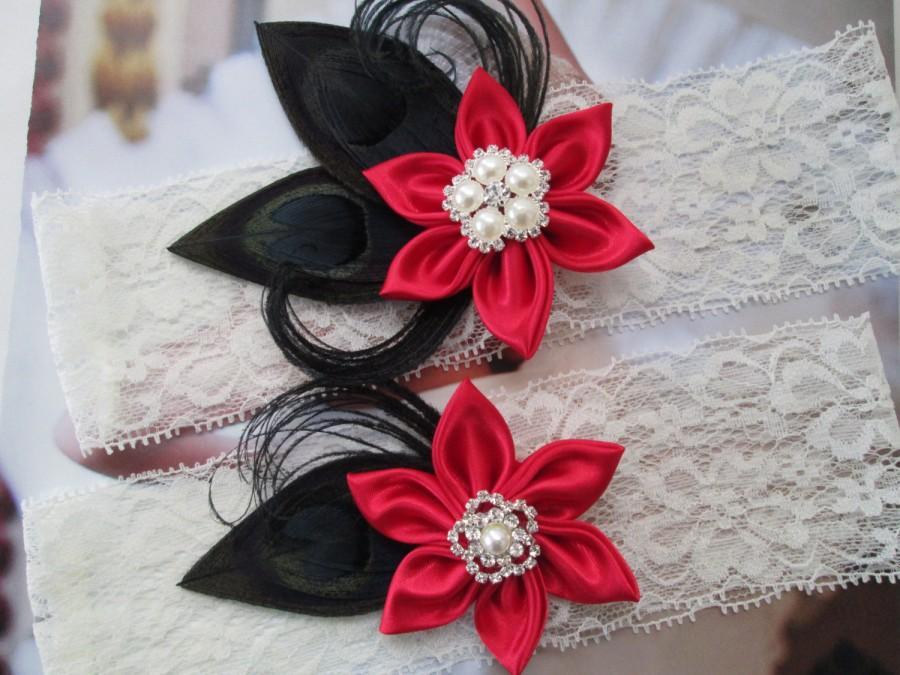 RED WEDDING Garter Set BLACK Garters Black Peacock Ivory Lace Steampunk Weddings Vintage Circus