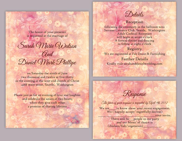 Pink Floral Invitation Template