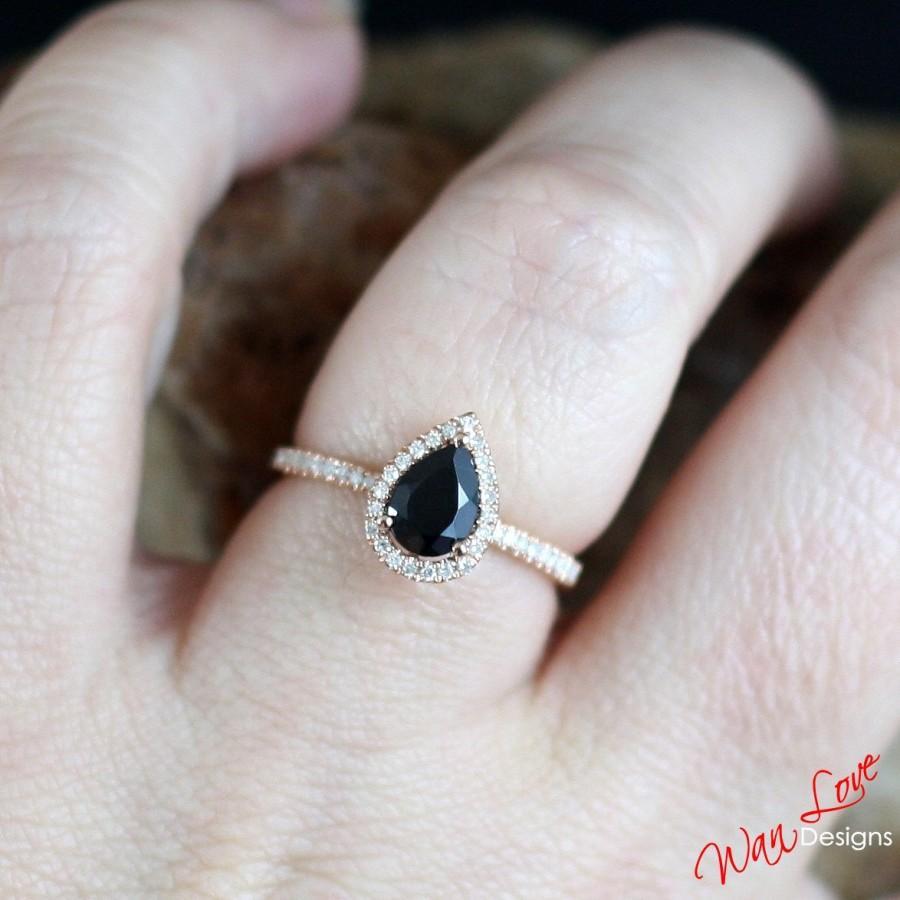Black Spinel & Diamond Pear Cut Halo Engagement Ring 1ct 7x5mm 14k 18k  White Yellow Rose Goldplatinumcustom Madeweddinganniversary