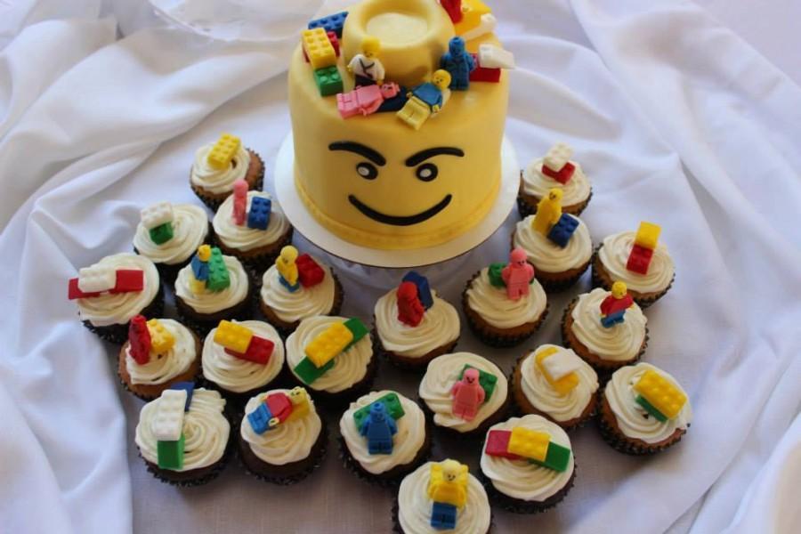 30 Lego Cupcake Toppers 24blocks 6men Edible Fondant Cake Topper Boy Birthday Inspired Theme