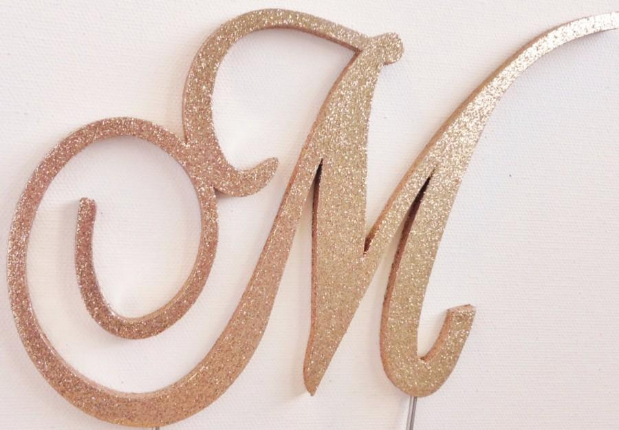 M Cake Topper Gold