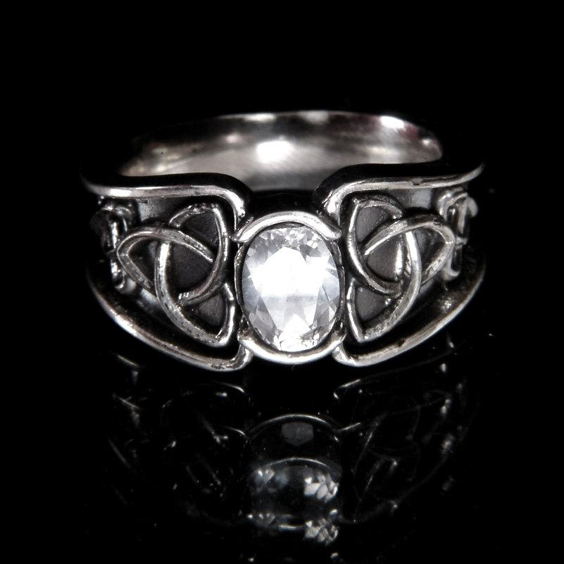 Mariage - Celtic White Sapphire Ring With Trinity Knot Band Ring Design in 10K Gold, Made in Your Size CR-17d