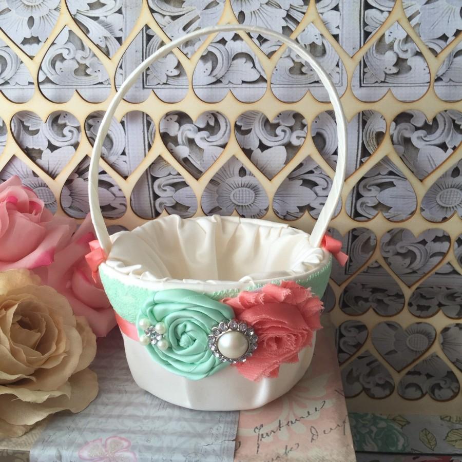 Mint And Coral Flower Girl Basket Rustic Wedding Basket Flower