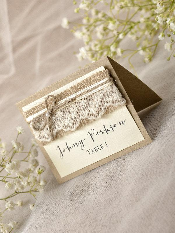 Rustic place cards 20 lace place cards grey wedding for Wedding place name cards