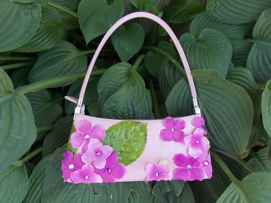 Mariage - Pink Fairy Purse, Hydrangea Flower Handbag, Mauve Bridal Bag, Unique Upcycled Purse, Fairy Costume Accessory, Festival Accessory