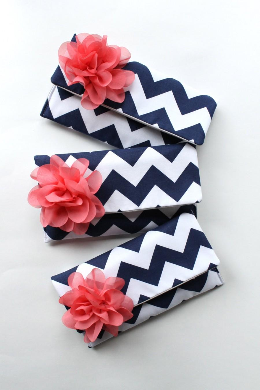 Wedding - Navy and Coral Bridesmaid Clutch Set with Personalized Colors Available